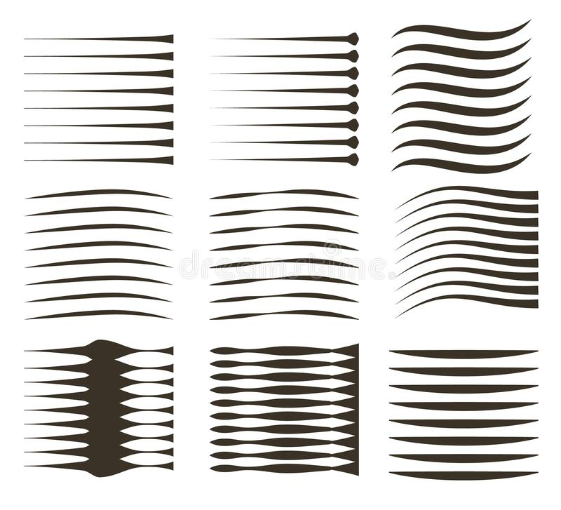 Zwarte lijnen op witte achtergrond De zwarte Grappige vectorelementen van snelheidslijnen royalty-vrije illustratie