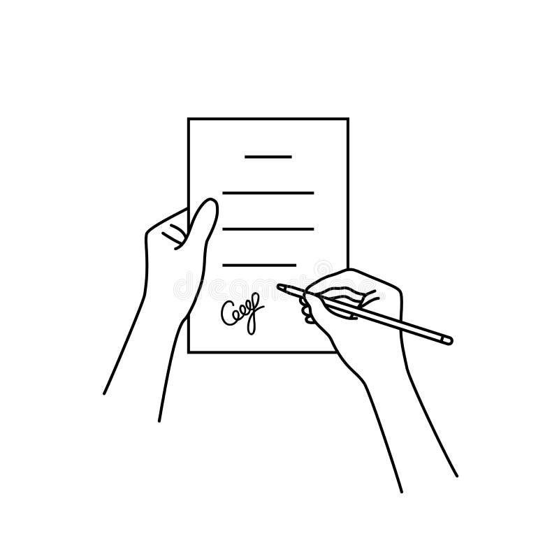 Zwarte lineaire hand met contract royalty-vrije illustratie