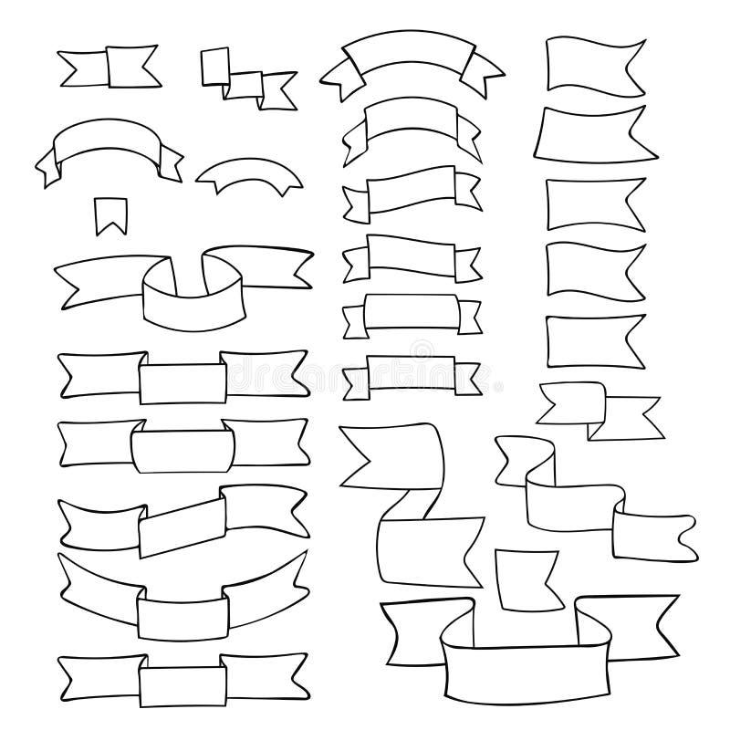 Zwarte linten, grote reeks van hand getrokken ontwerpelement, vlag, pijl, banner, etiket op wit vector illustratie