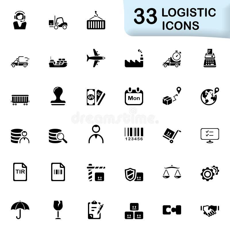 33 zwarte logistische pictogrammen royalty-vrije illustratie