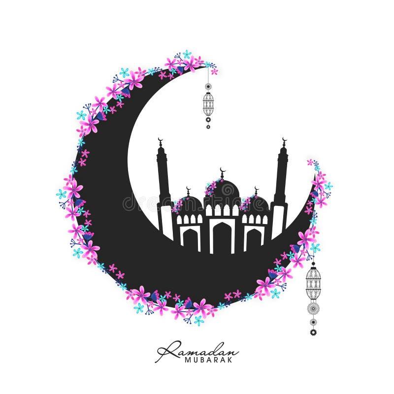 Zwarte Maan met Moskee voor Ramadan Mubarak royalty-vrije illustratie