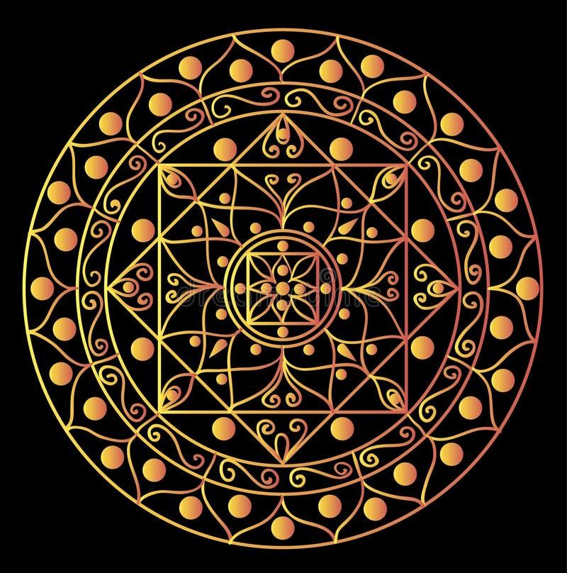 Zwarte mandala stock illustratie