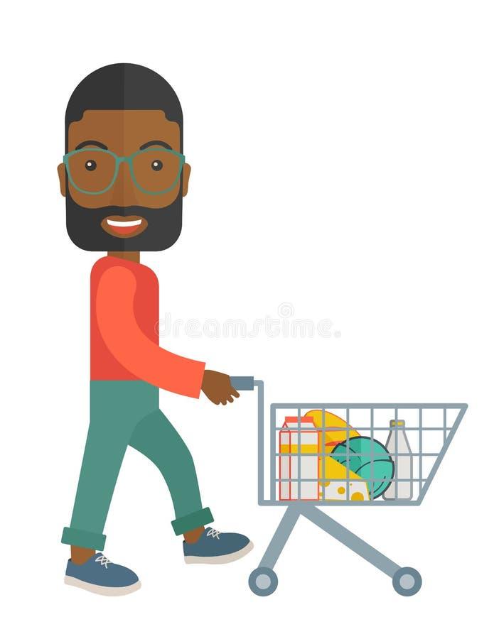 Zwarte Mannelijke Klant die een Boodschappenwagentje duwen royalty-vrije illustratie
