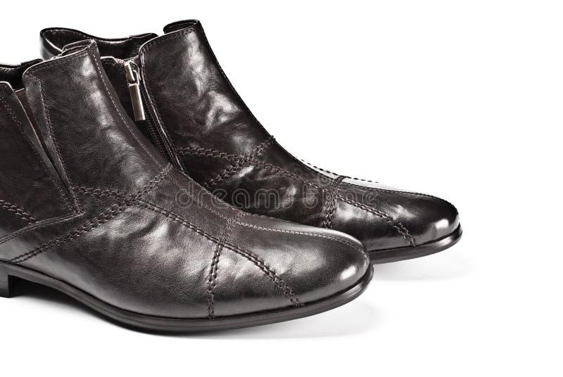 Zwarte mannelijke schoenen stock afbeeldingen