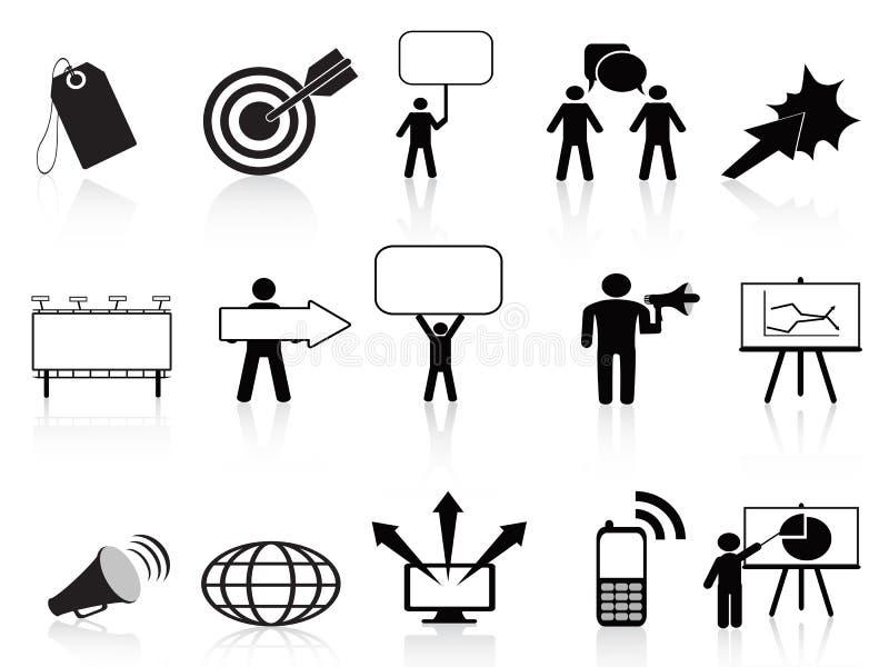 Zwarte marketing geplaatste pictogrammen royalty-vrije illustratie