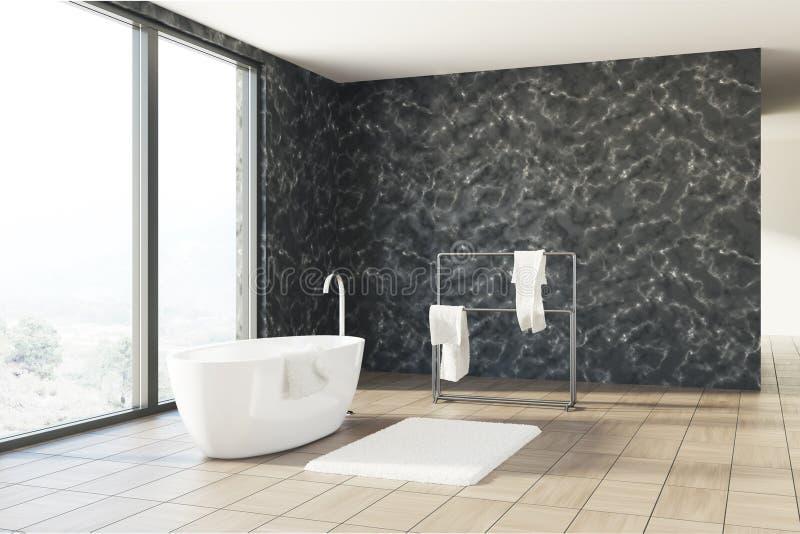 Zwarte marmeren badkamers, witte ton vector illustratie