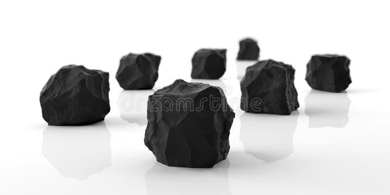 Zwarte marmeren rotsen op witte achtergrond 3D Illustratie royalty-vrije illustratie