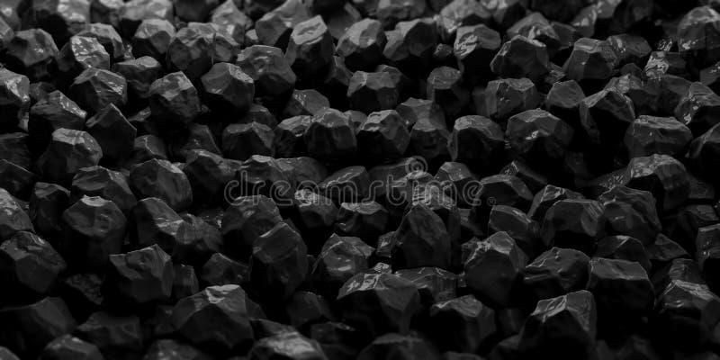 Zwarte marmeren stenenachtergrond 3D Illustratie vector illustratie
