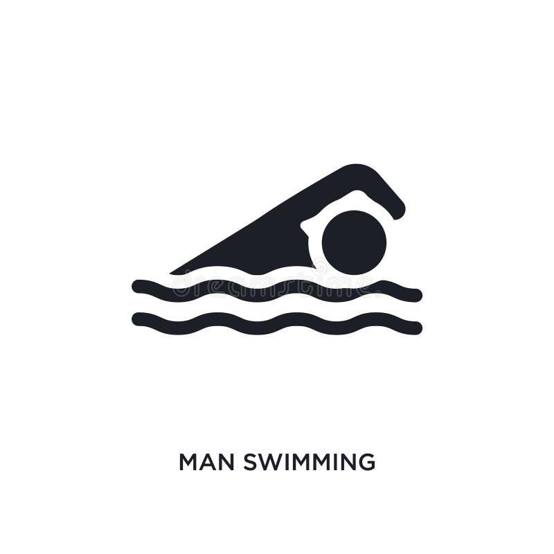 zwarte mens die geïsoleerd vectorpictogram zwemt eenvoudige elementenillustratie van gymnastiek en geschiktheidsconcepten vectorp vector illustratie