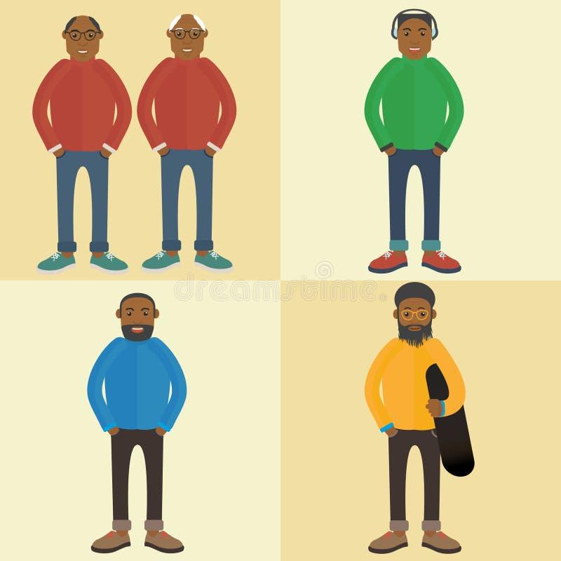 Zwarte Mens Een eigentijdse stijl Vector vlak ontwerp stock afbeeldingen