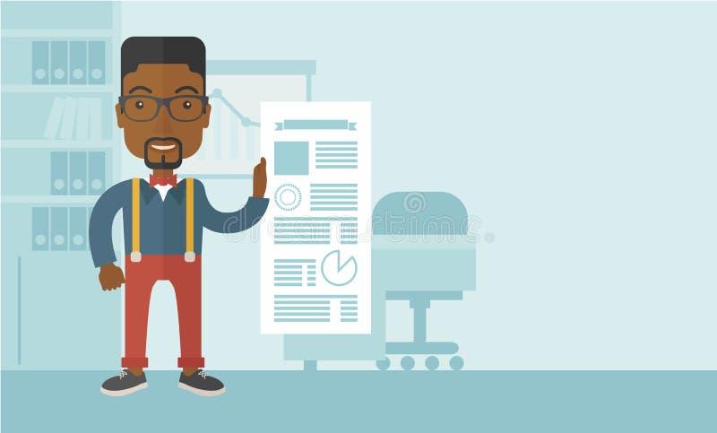 Zwarte mens gelukkige status binnen zijn bureau stock illustratie