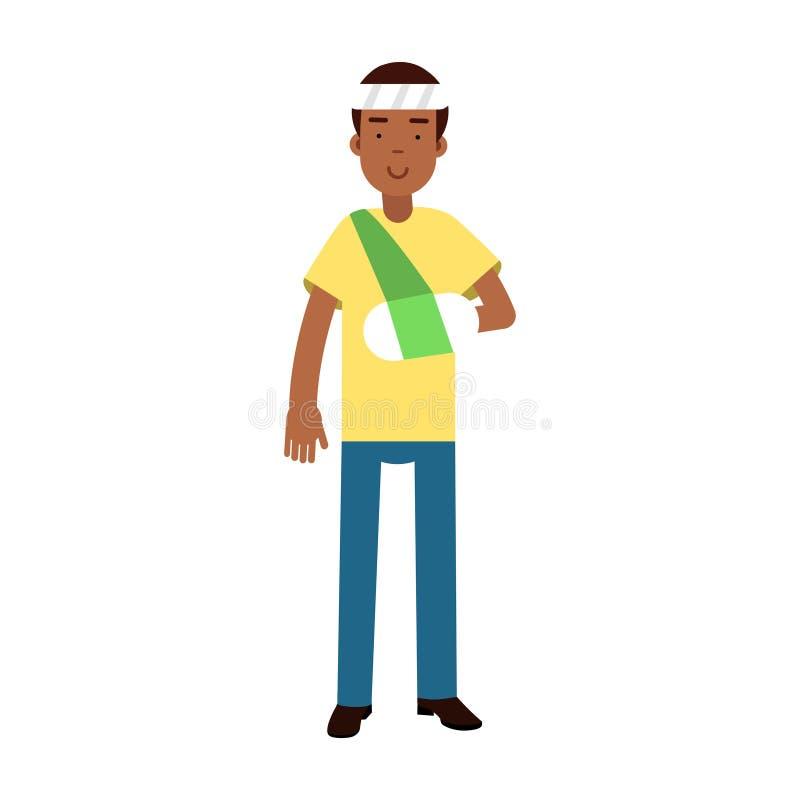 Zwarte mens met wapen in een pleister en verband op zijn hoofd kleurrijke Illustratie vector illustratie