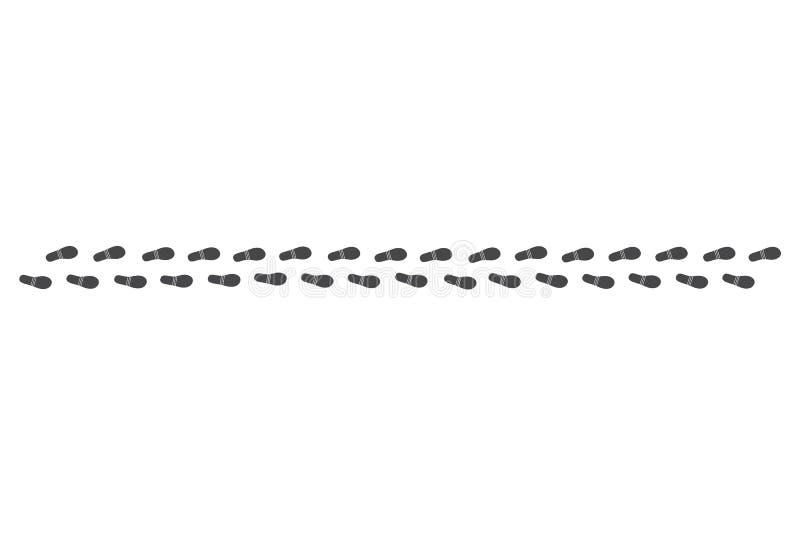 Zwarte menselijke die voetafdrukkenweg op witte achtergrond wordt geïsoleerd vector illustratie