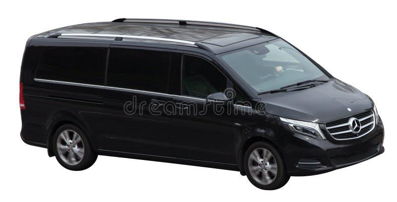 Zwarte Mercedes Viano op een transparante achtergrond stock afbeelding