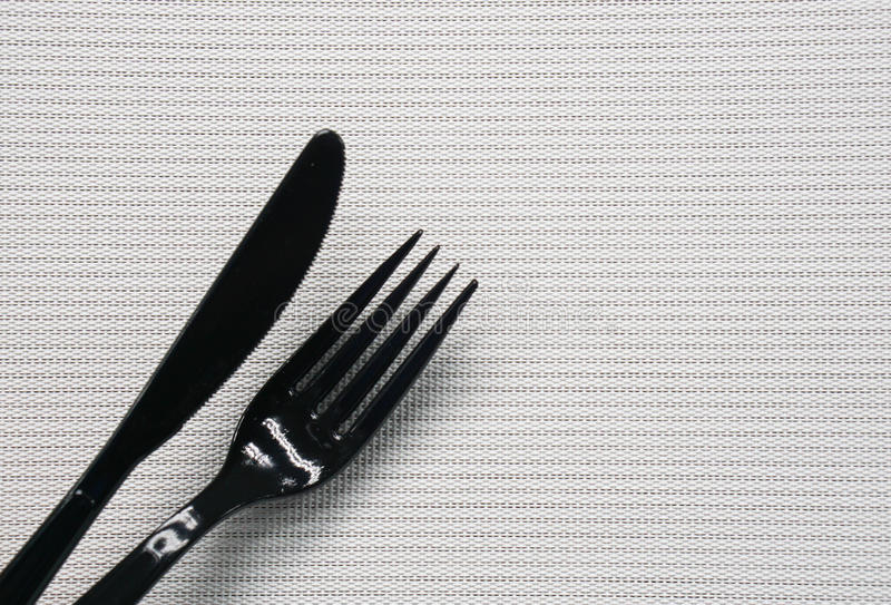 zwarte mes en vork stock foto's