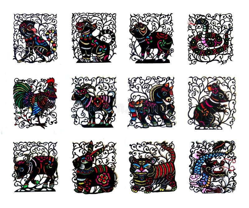 Zwarte met de hand gemaakte besnoeiingsdocument Chinese dierenriemdieren stock illustratie