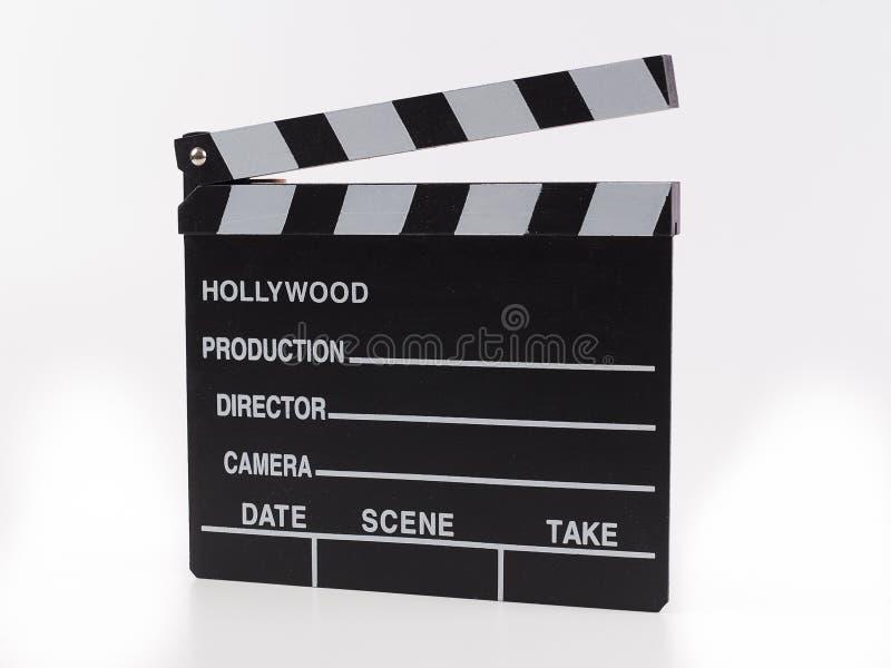 Zwarte met de witte die film van de brievenhouten hamer op witte backgroun wordt geïsoleerd stock afbeeldingen