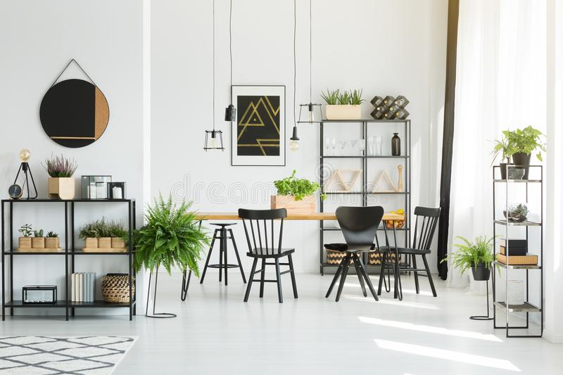 Zwarte meubilair en toebehoren royalty-vrije stock foto
