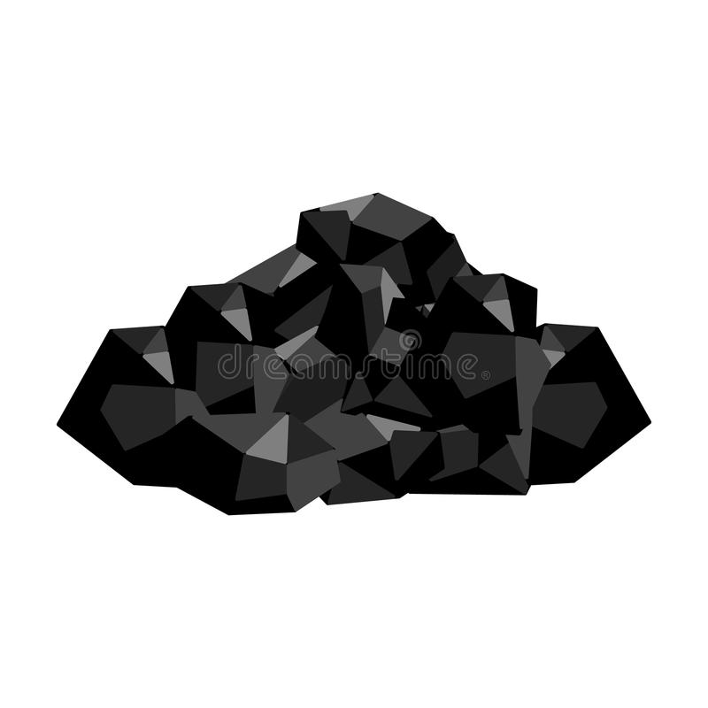 Zwarte mineralen van de mijn Steenkool, die in de mijn wordt ontgonnen Het enige pictogram van de mijnindustrie in zwart-wit stij royalty-vrije illustratie