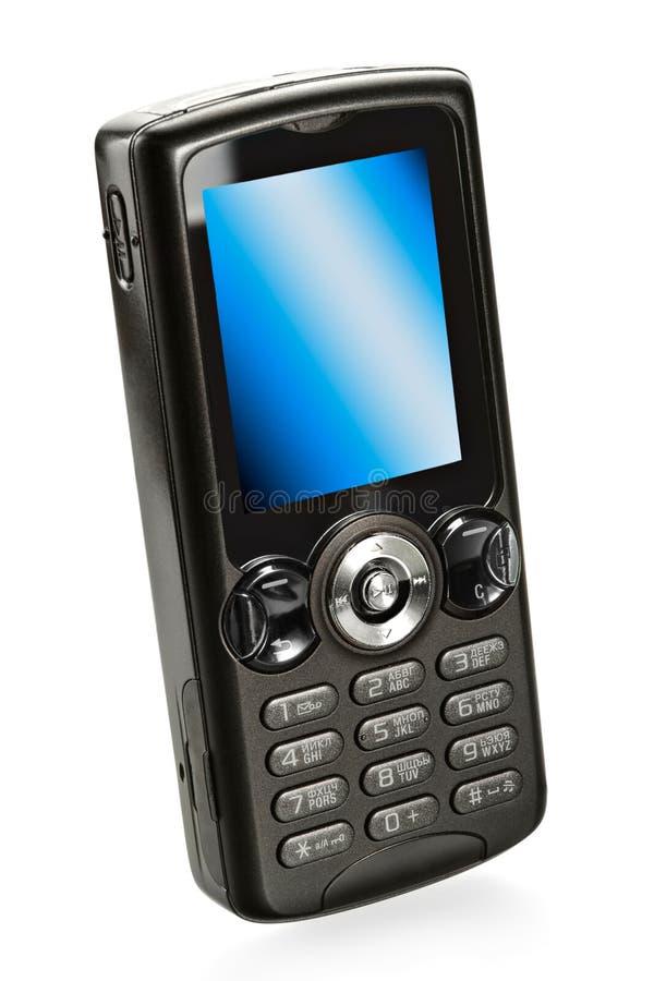 Zwarte mobiele celtelefoon royalty-vrije stock fotografie