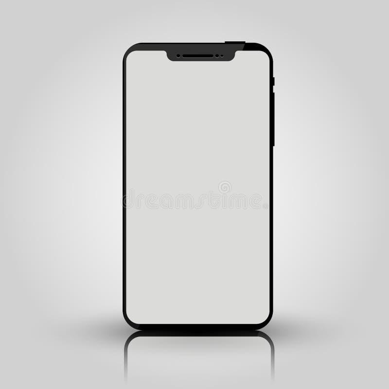 Zwarte mobiele slimme telefoonspot omhoog Spelontwerp, presentatie van de smartphone de mobiele toepassing of portefeuillemodelle royalty-vrije illustratie