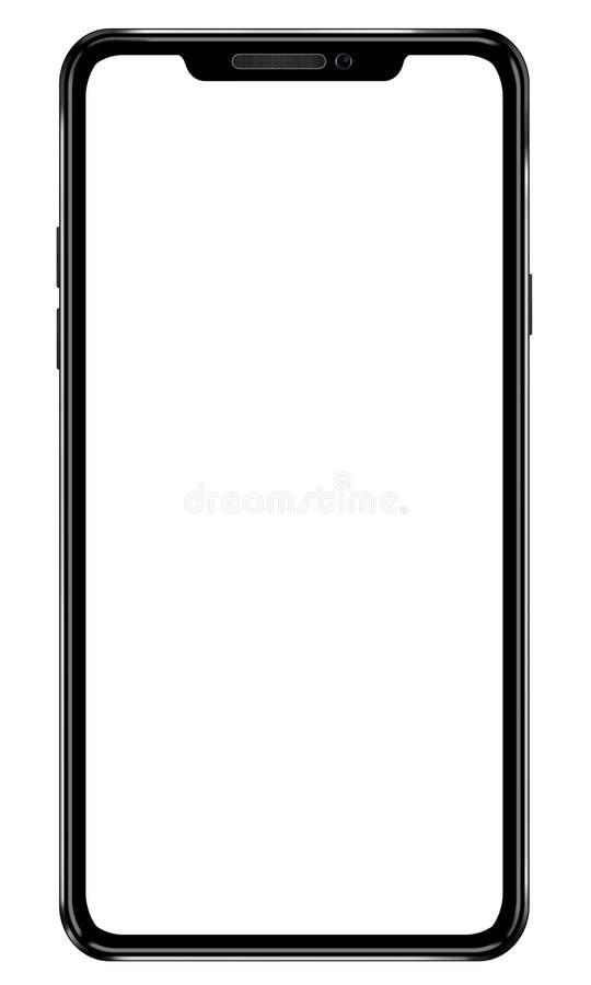 Zwarte mobiele smartphoneillustratie Modern kader minder ontwerp royalty-vrije stock foto