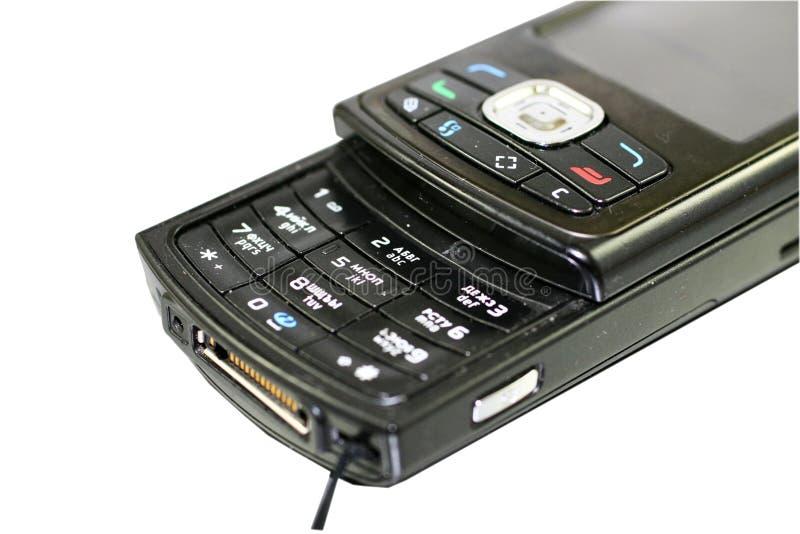 Zwarte mobiele telefoon stock foto