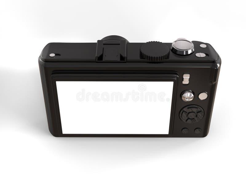 Zwarte moderne compacte digitale fotocamera - achter hoogste mening stock foto's