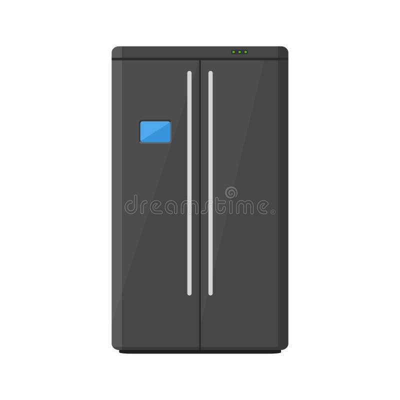 Zwarte moderne huishoudapparatenkoelkast met twee die deuren op witte achtergrond worden geïsoleerd Elektronische apparatenijskas vector illustratie