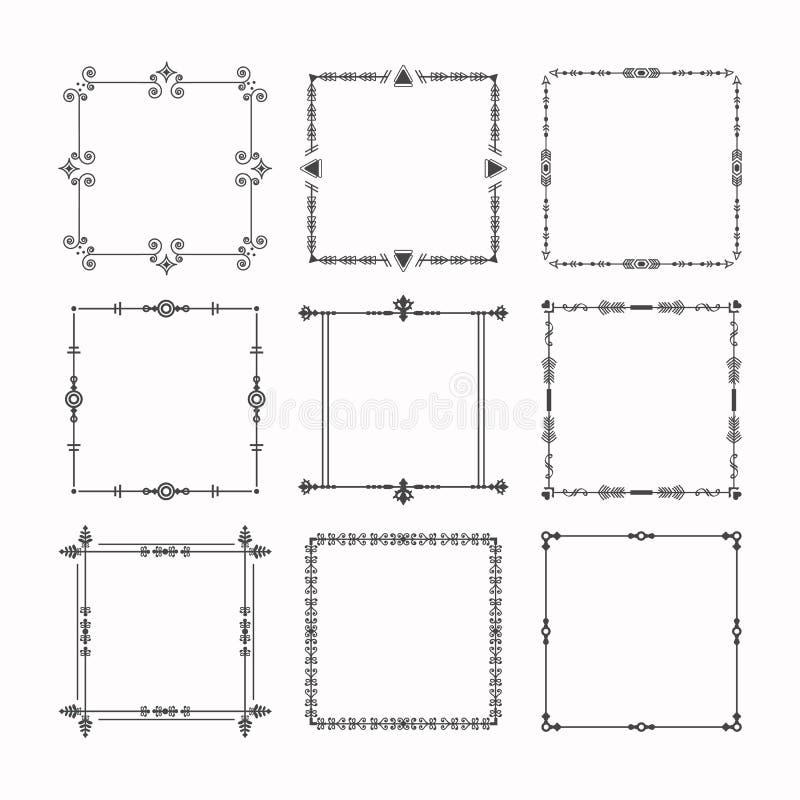 Zwarte moderne van lijn vierkante kaders en grenzen geplaatste embleempictogrammen vector illustratie