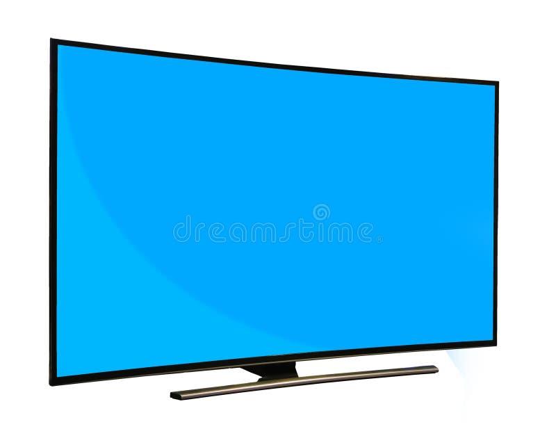 Zwarte monitor met het lege blauwe die scherm op witte backgroun wordt geïsoleerd royalty-vrije stock foto