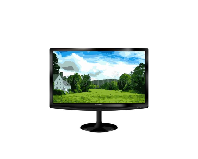 Zwarte monitor met ovale tribune op een witte achtergrond vector illustratie