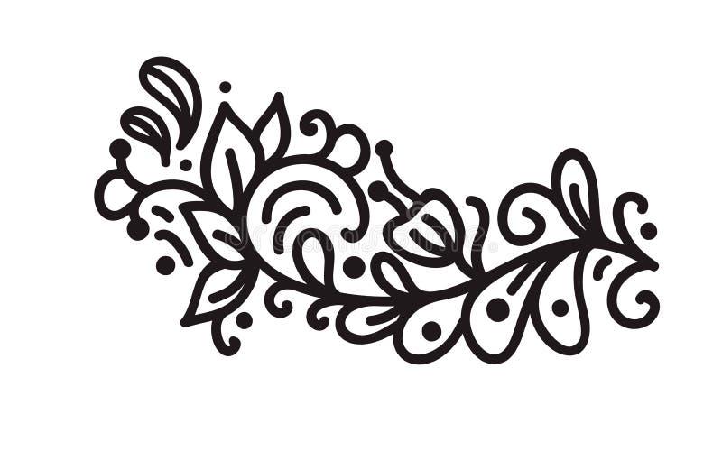 Zwarte monoline bloeit Skandinavische monogramvector met bladeren en bloemen Uitstekende hoeken en verdelers voor royalty-vrije illustratie
