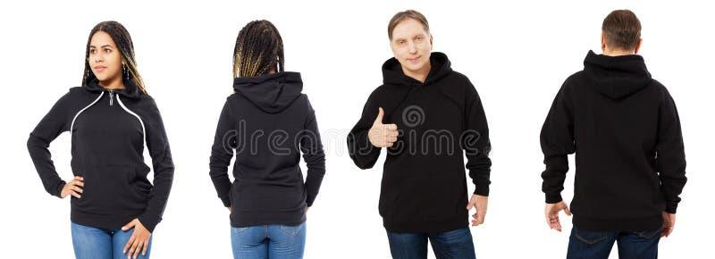 Zwarte mooie vrouw en man op middelbare leeftijd in zwarte die hoodiespot omhoog op witte achtergrond wordt geïsoleerd royalty-vrije stock afbeelding