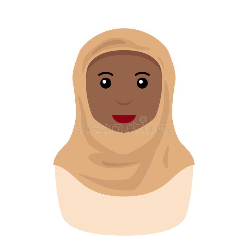 Zwarte Moslimvrouw met Hijab-Avatar Pictogram royalty-vrije illustratie