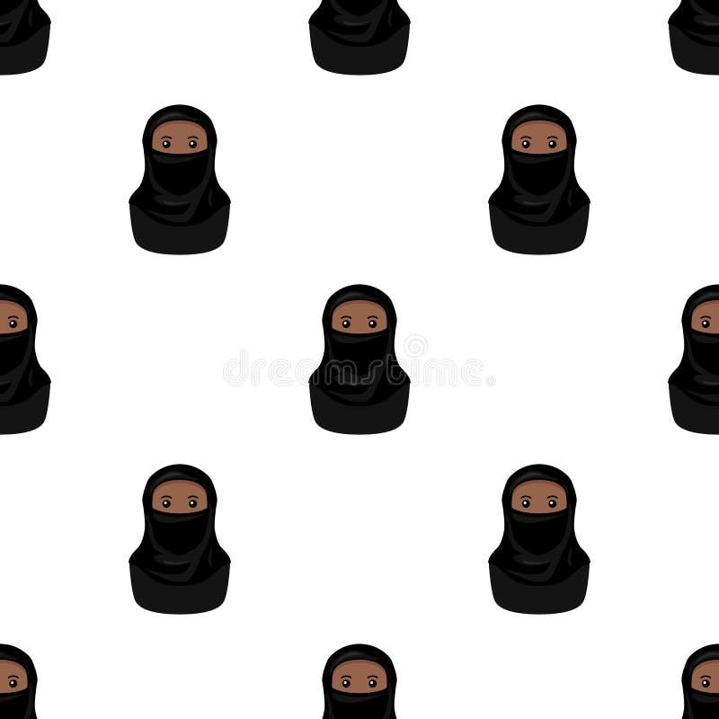 Zwarte Moslimvrouw met Naadloze Niqab royalty-vrije illustratie