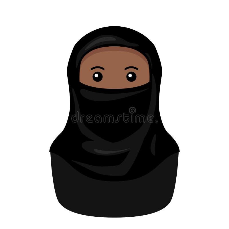 Zwarte Moslimvrouw met Niqab-Avatar Pictogram vector illustratie