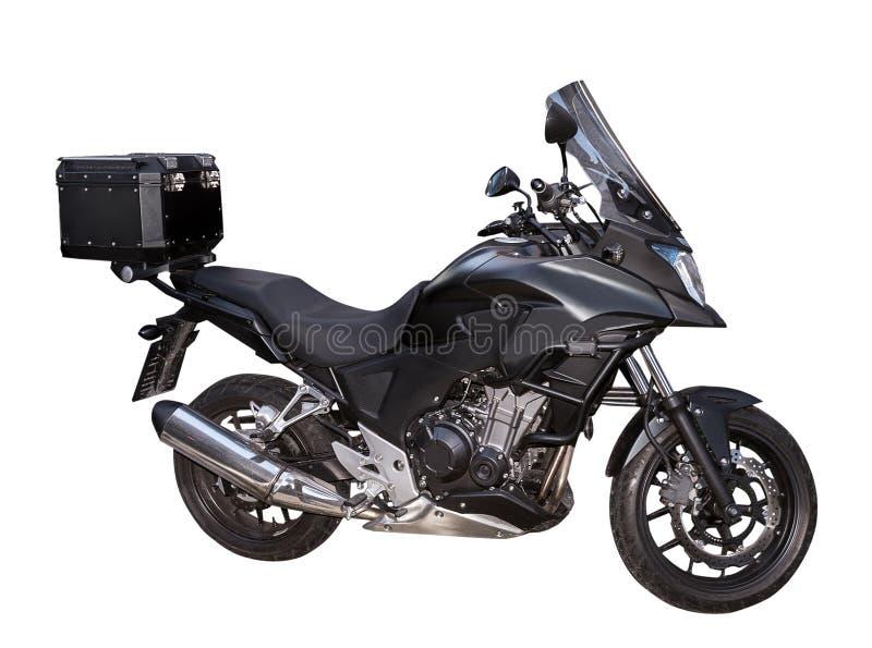 Zwarte motocycle met doos op de witte achtergrond royalty-vrije stock foto's