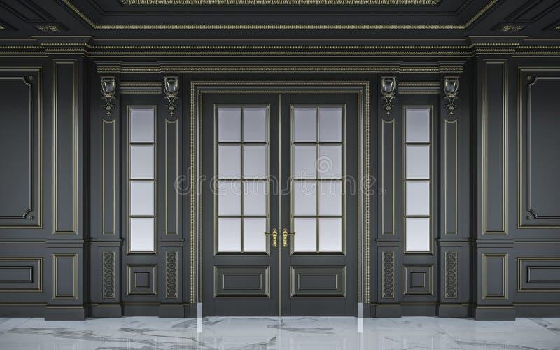 Zwarte muurpanelen in klassieke stijl met het vergulden het 3d teruggeven stock illustratie