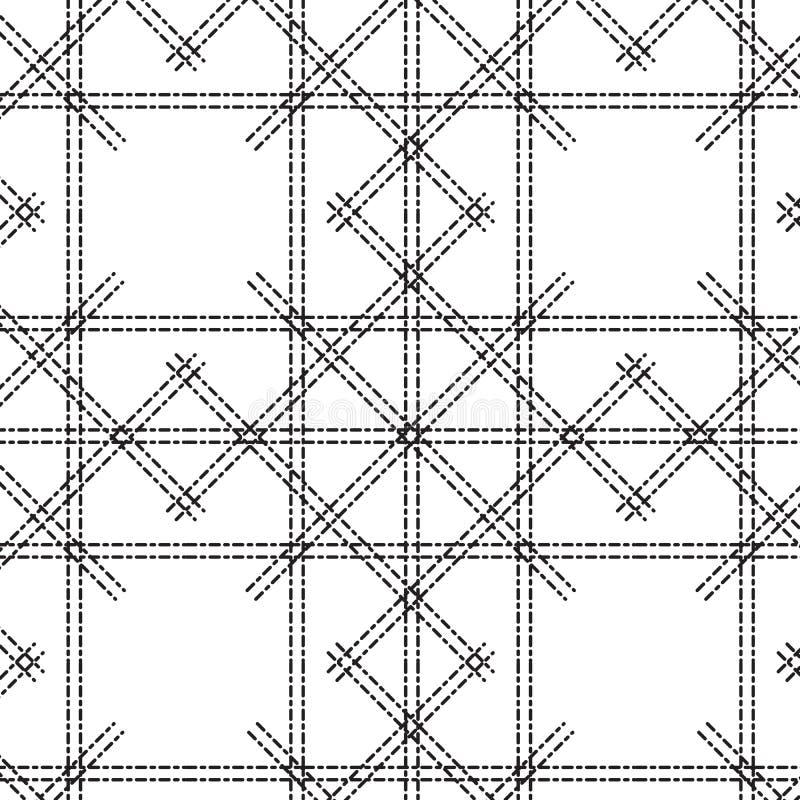 Zwarte net gestormde lijn met het patroonachtergrond van de diamantvorm royalty-vrije illustratie