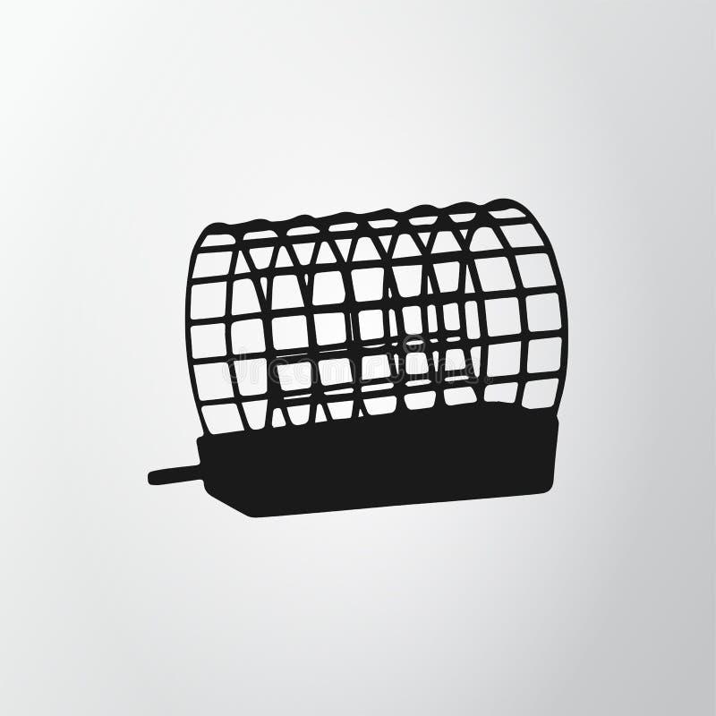 Zwarte netto voeder geïsoleerd op grijze achtergrond Vissend Pictogram Draadkooi Vectorillustraion, EPS10 royalty-vrije illustratie