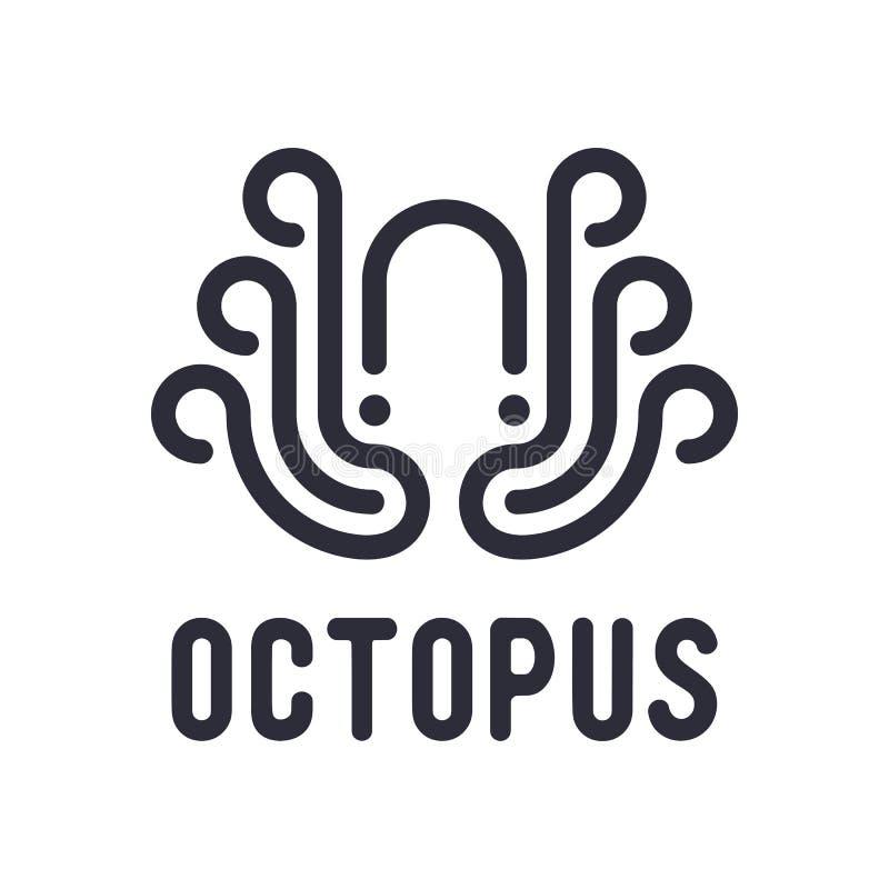 Zwarte Octopus Logo Design Inspiration Isolated op Witte Achtergrond vector illustratie