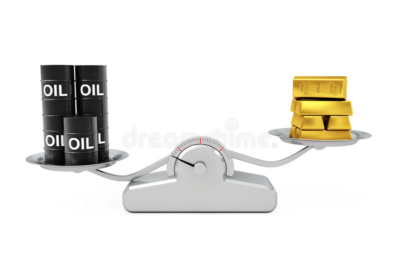 Zwarte Olievaten met Gouden Bars die op een Eenvoudige Weighti in evenwicht brengen vector illustratie