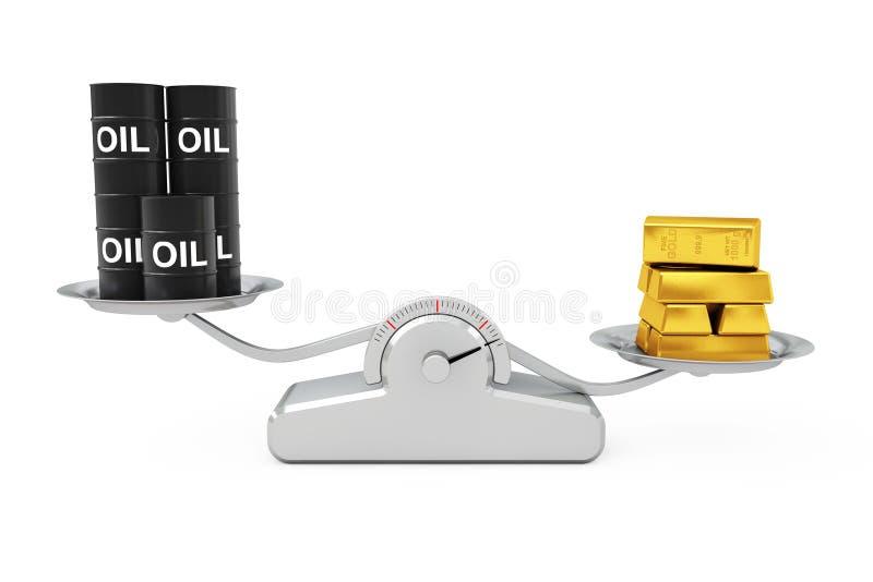 Zwarte Olievaten met Gouden Bars die op een Eenvoudige Weighti in evenwicht brengen stock illustratie