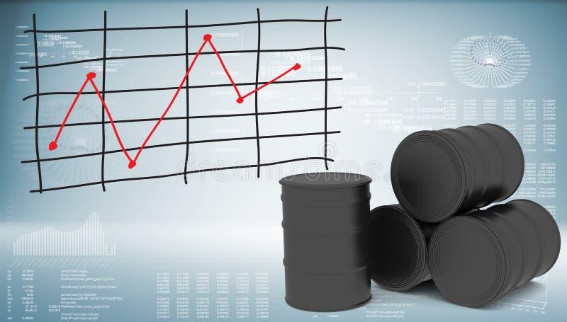Zwarte olievaten met grafiek van prijsveranderingen stock illustratie