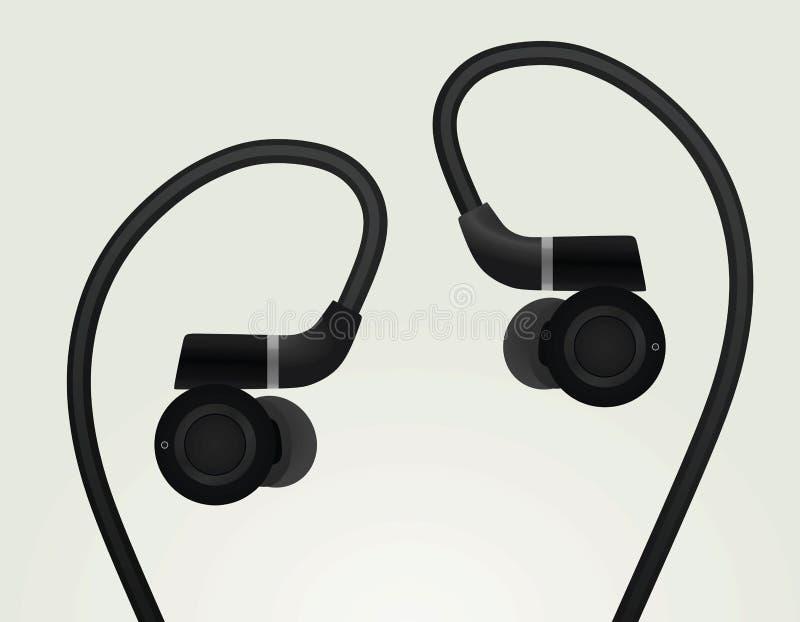 Zwarte oortelefoons stock illustratie