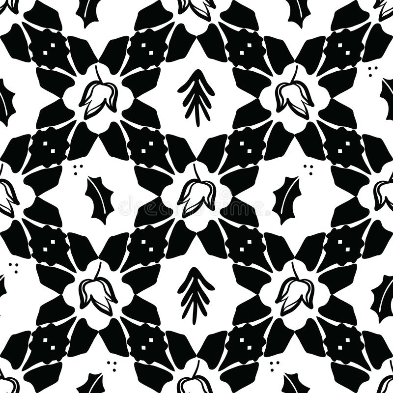 Zwarte op het Witte Vectorpatroon van het Kerstmisdekbed vector illustratie