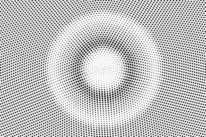 Zwarte op witte cirkel halftone textuur Gestippelde vectorachtergrond Gecentreerde dotwork gradiënt stock illustratie