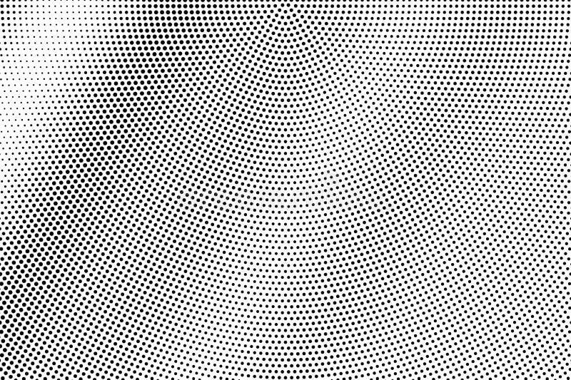 Zwarte op witte frequente halftone textuur Gestippelde vectorachtergrond Diagonale dotworkgradiënt vector illustratie