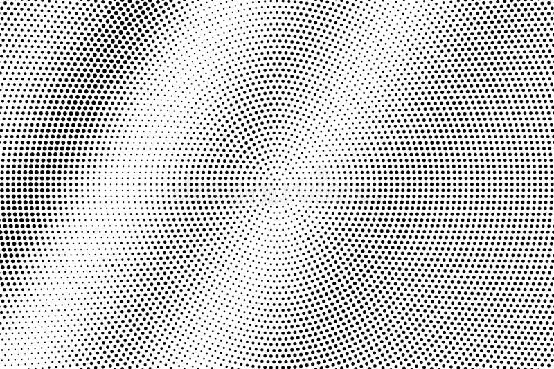 Zwarte op witte gecentreerde halftone textuur Gestippelde vectorachtergrond Diagonale dotworkgradiënt vector illustratie